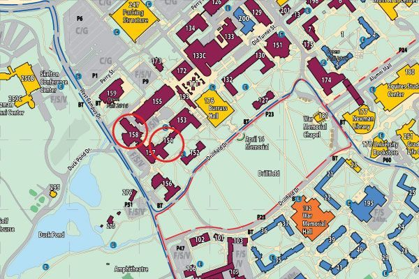 Map image showing locations of Robeson Hall and Hahn Hall North on the Virginia Tech Blacksburg campus.