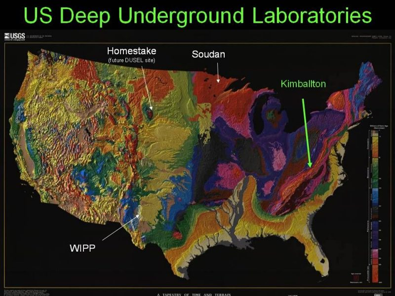 Map of The United States showing locations of Kimbalton Lab and four other Deep Underground Laboratories.