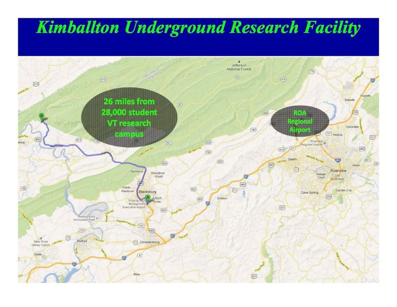 Regional map highlight proximity of Kimbalton Lab to both Virginia Tech and Roanoke airport.